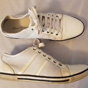 Knneth Cole Down-Load White Leather Sneakers